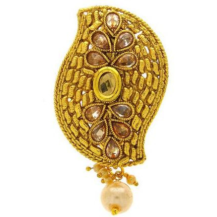 Anuradha Art Peach Colour Studded Shimmering Stone Designer Brooch/Sari Pin For Women