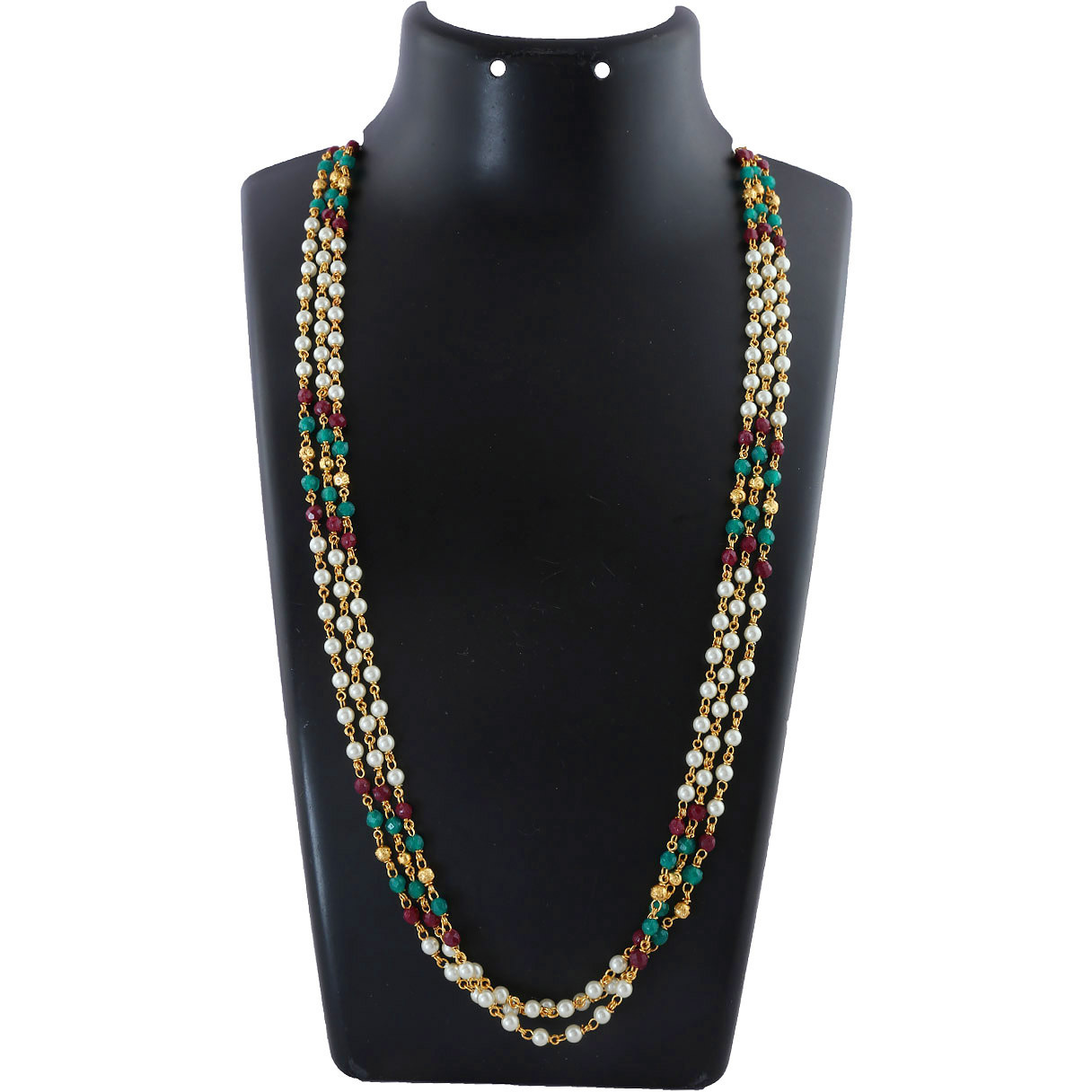 Anuradha Art Maroon-Green Colour Styled With Classy Beads Adorable Traditional Long Necklace Moti Mala For Women/Girls