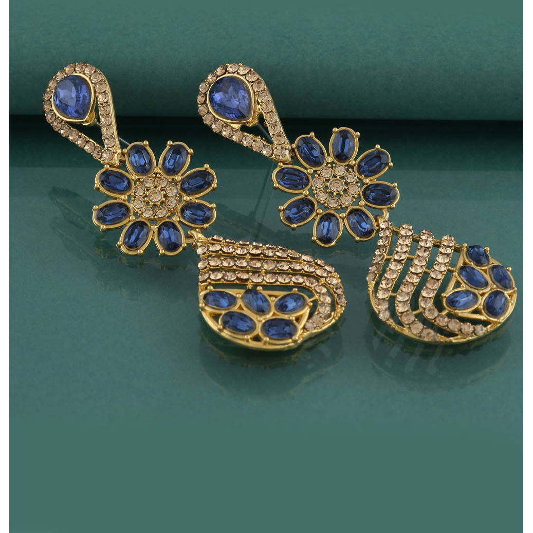 Anuradha Art Golden Finish Studded Blue Colour Shimmering Stone Wonderful Classy Traditional Long Earrings For Women/Girls