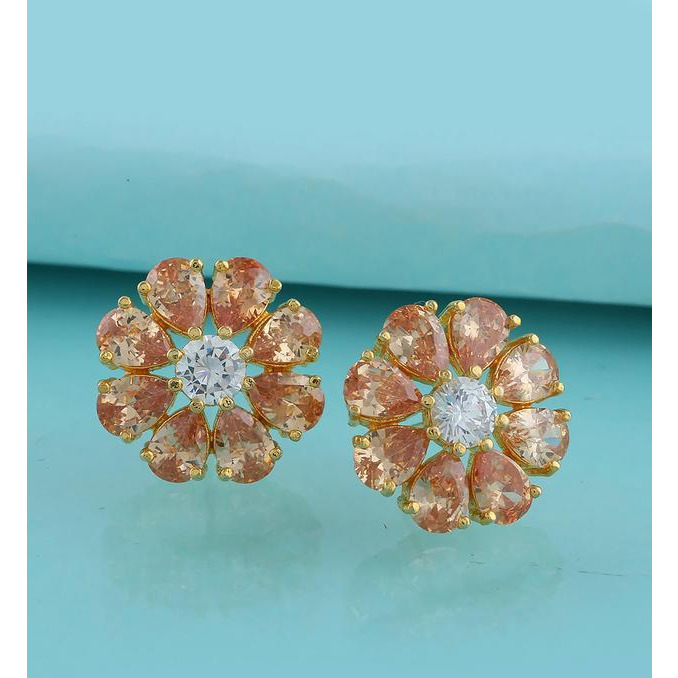 Anuradha Art Peach Colour Styled With American Diamond Floral Design Stud Earrings For Women/Girls
