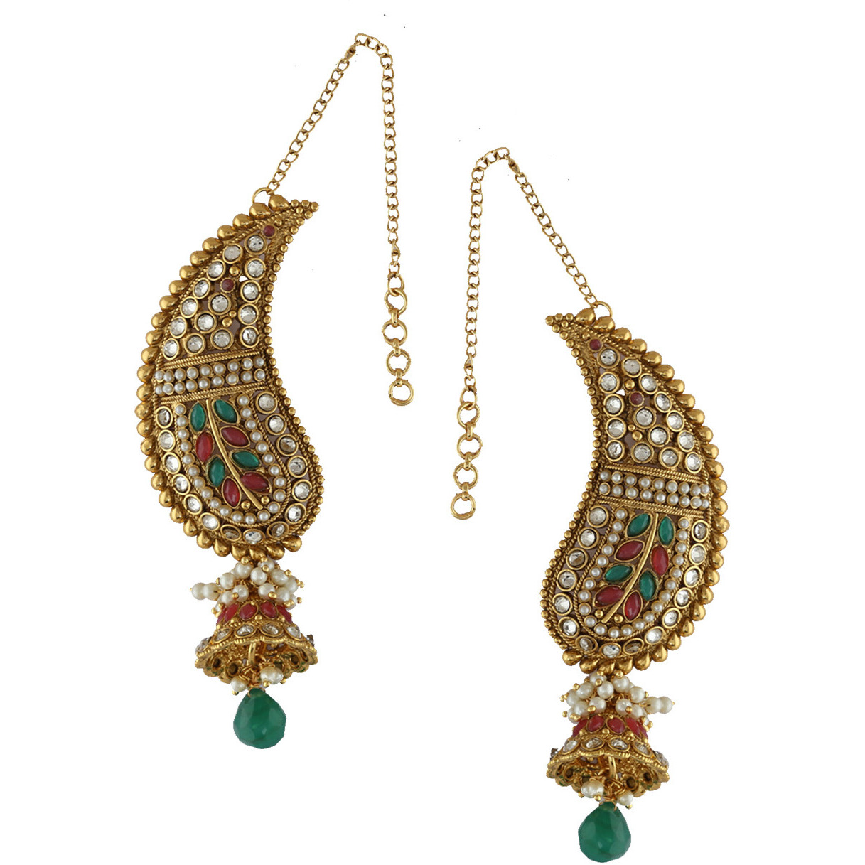 Buy Online Anuradha Art Golden Finish Red Green Colour Stylish Ear