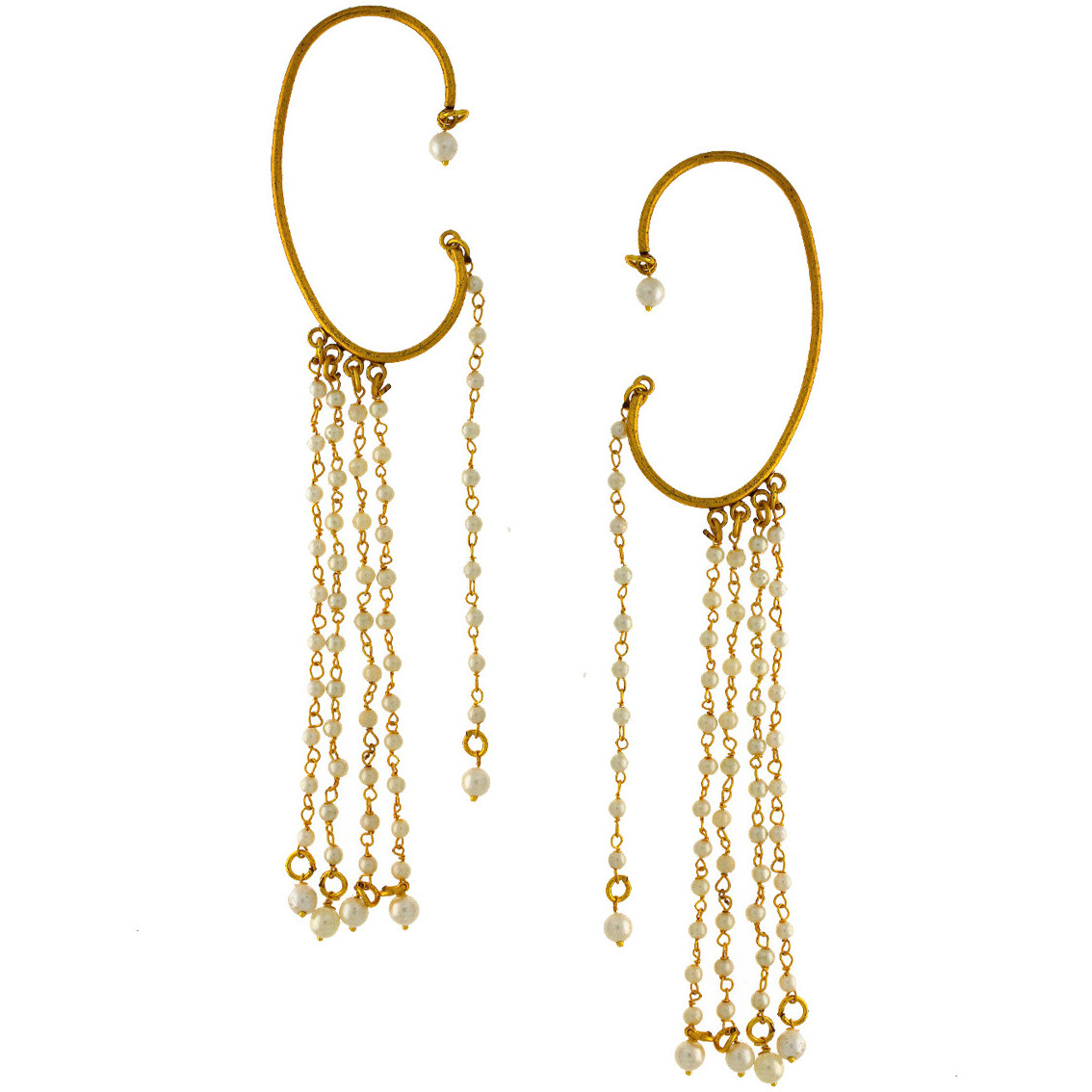 Anuradha Art Golden Finish Styled With Multiple Layers Pearl Beads Adorable Ear-Cuff Traditional Earrings For Women/Girls