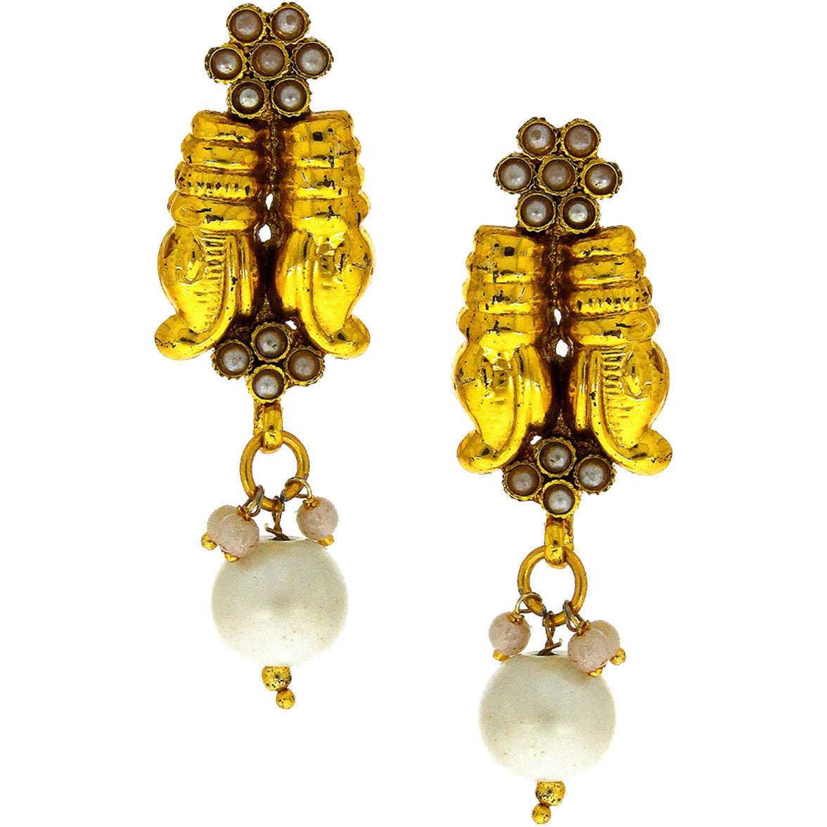 Anuradha Art Golden Finish Wonderful Studded Beads Classy Traditional Earrings For Women/Girls