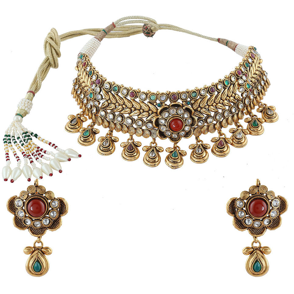 Anuradha Art Golden Finish Studded Shimmering Stone Choker Styled Traditional Necklace Set For Girls Women