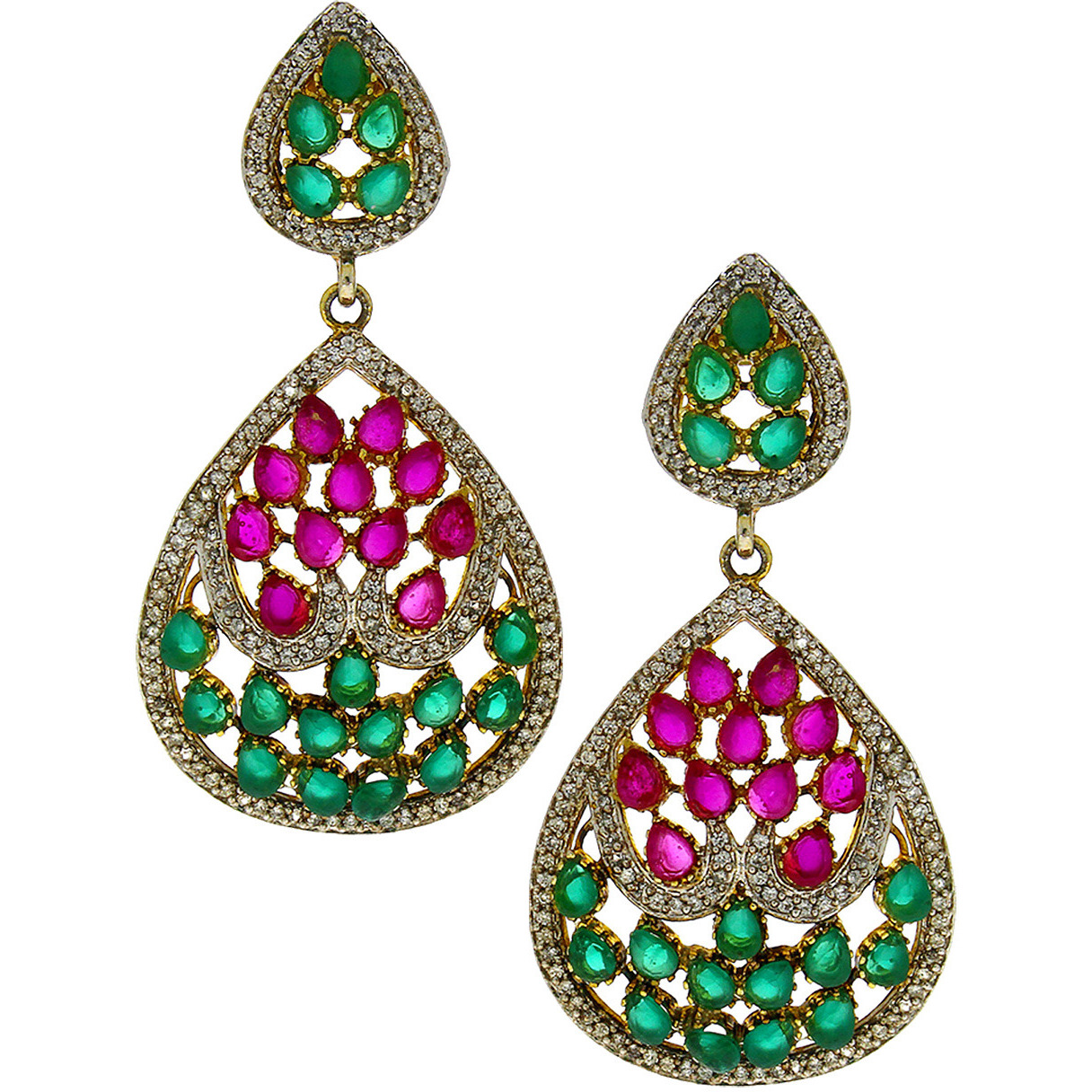 Buy Online Anuradha Art Green-Pink Colour Studded Shimmering Stone ...
