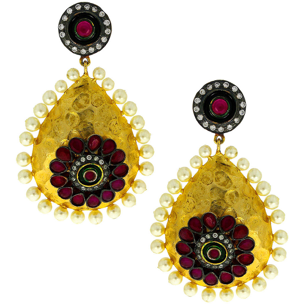 Anuradha Art Pink Colour Droplet Shape Studded Beads Styled Party Wear Fancy Long Earrings For Women/Girls