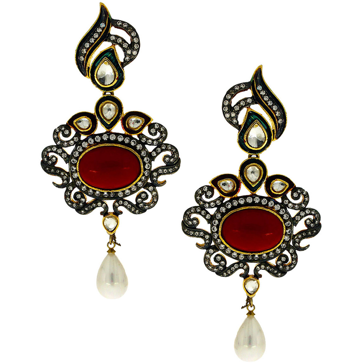 earring deco singh jewelry stud amrita shop product art black earrings erc