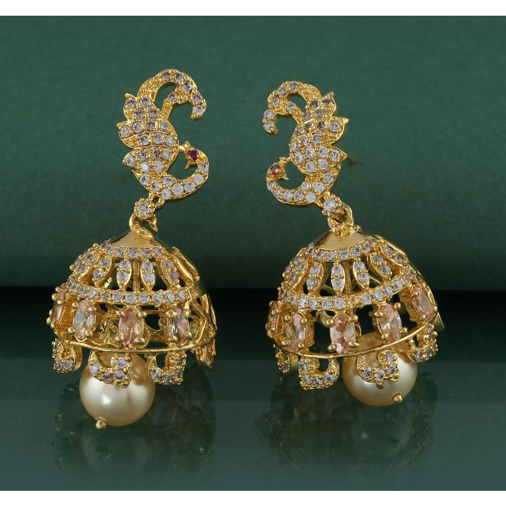 Anuradha Art Golden Finish Styled With Peacock Styled Adorable Jhumki/Jhumkas Earrings For Women/Girls
