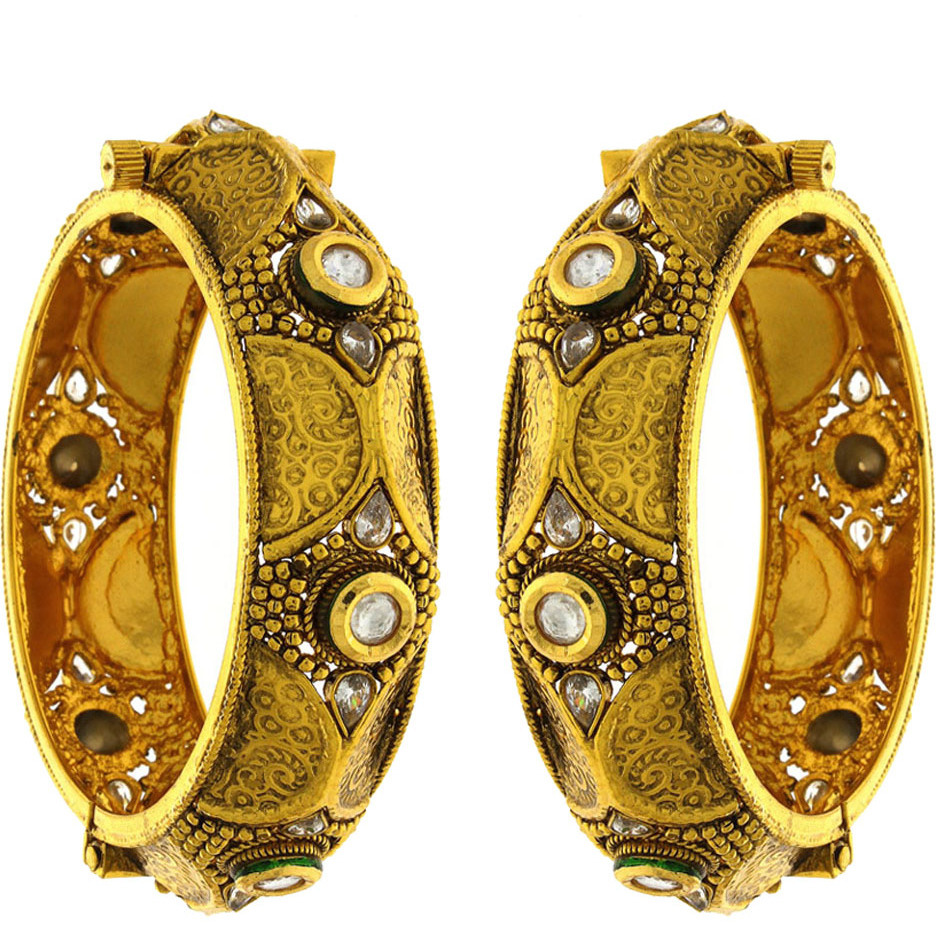 Anuradha Art Golden Finish Styled With Coin Look Traditional Kada/Bangles Set For Women/Girls