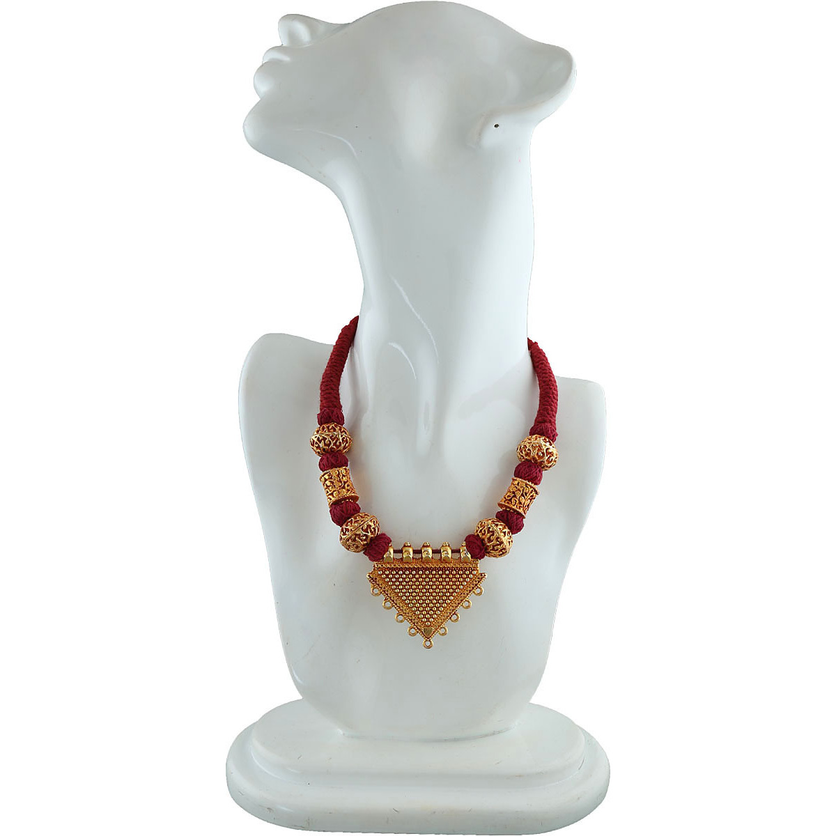 Anuradha Art Geometric Shape Styled With Maroon Colour Designer Geru Polish Traditional Maharashtrian/Rajasthani Necklace For Women/Girls
