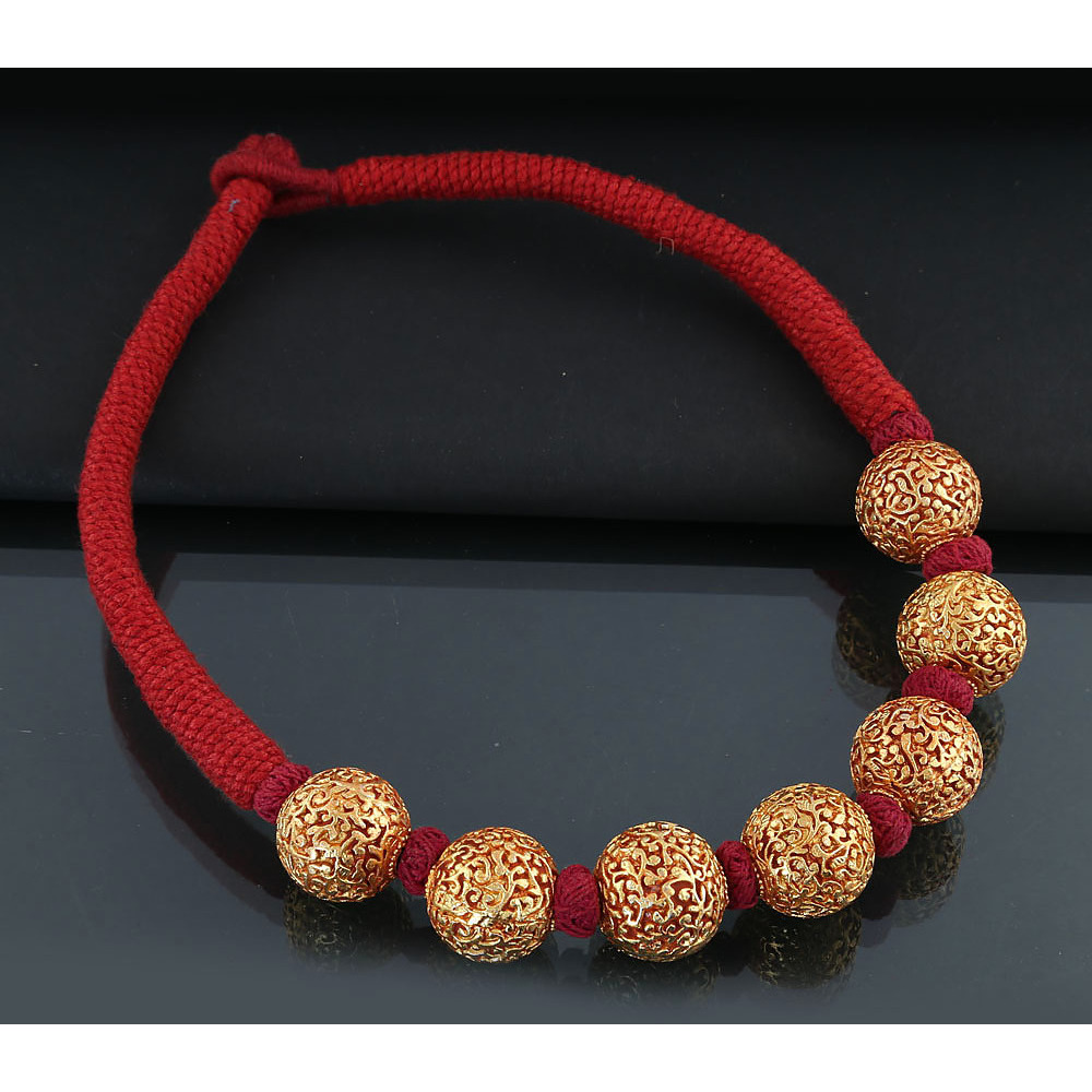 Anuradha Art Red Colour Geru Polished Round Bead Classy Designer Traditional Maharashtrian/Rajasthani Necklace For Women/Girls