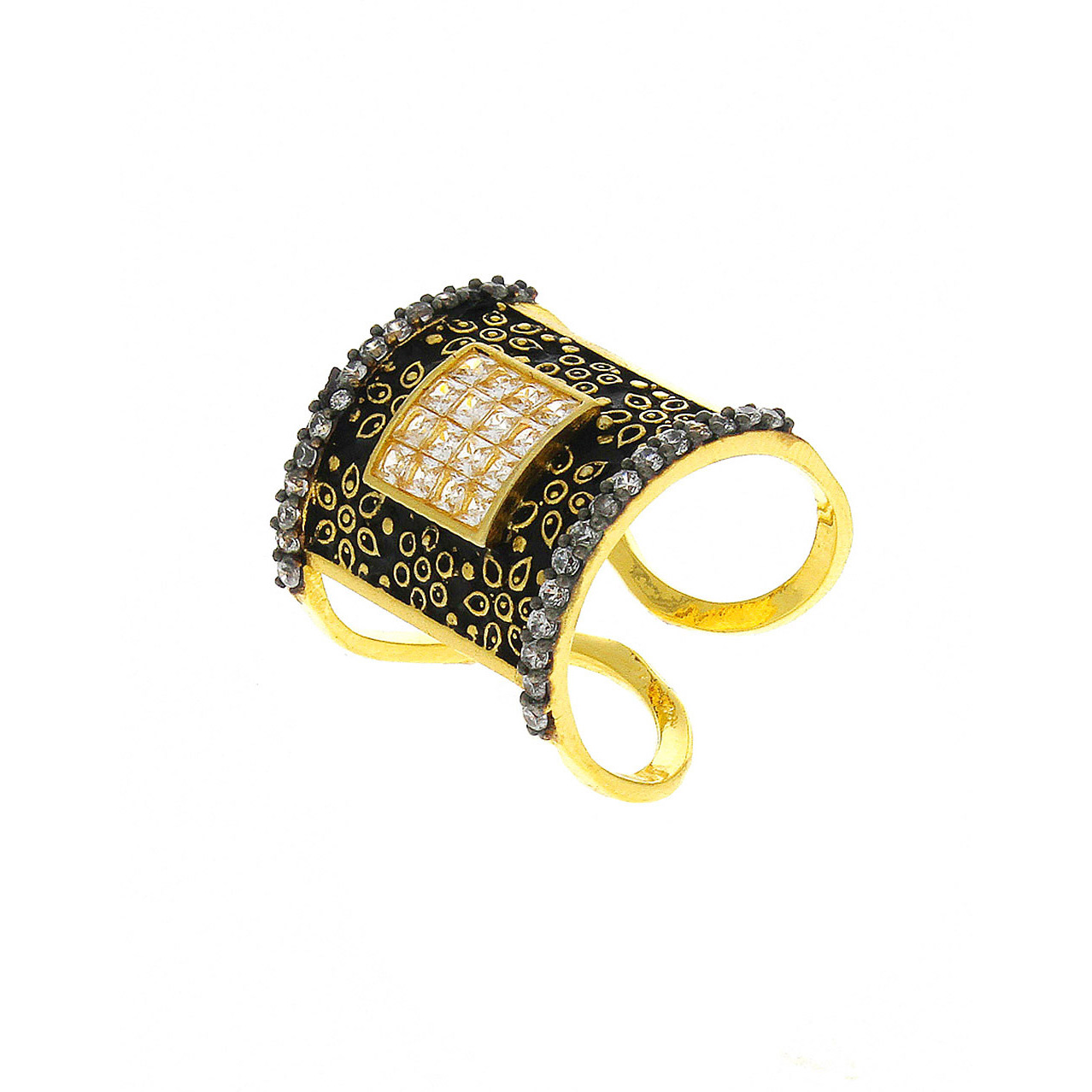 Anuradah Art Black Colour Designer Classy Studded American Diamonds Beautiful Finger Ring For Women/Girls