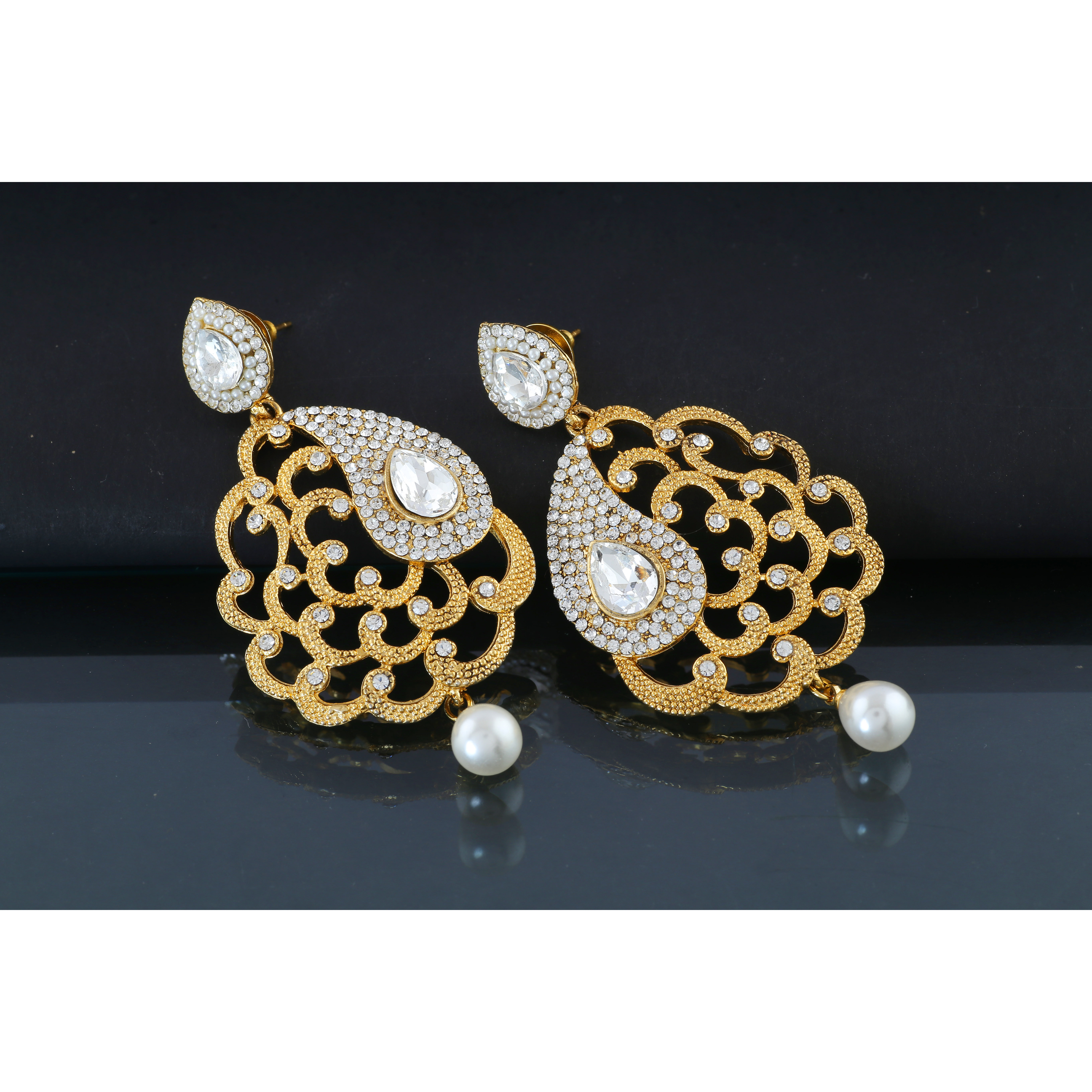 Anuradha Art Gold Touch Studded With Sparkling White Stones Fancy Stylish Traditional Earrings For Women/Girls