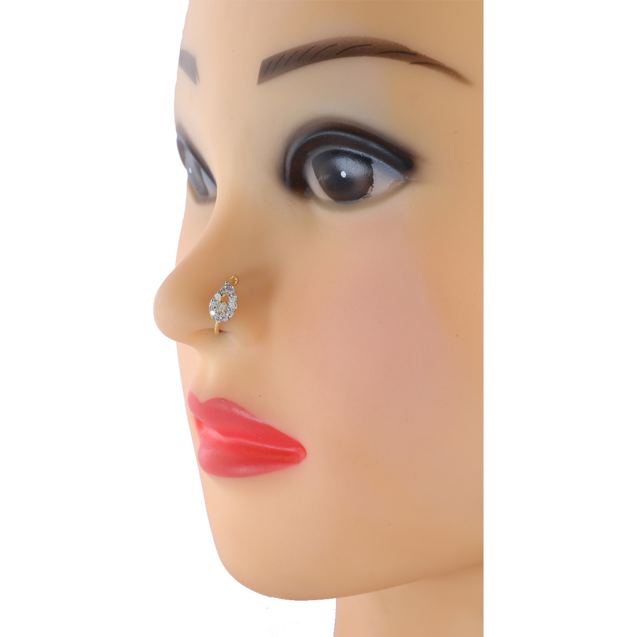 Anuradha Art Presenting Studded American Diamond Stone Classy Designer Saniya Mirza Style Clip-On Nose Ring/Pin For Women/Girls