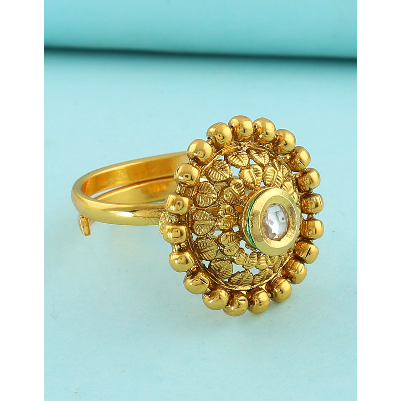 Anuradha Art Golden Finish Round Shape Studded Beads Styled Classy Traditional Finger Ring For Women/Girls