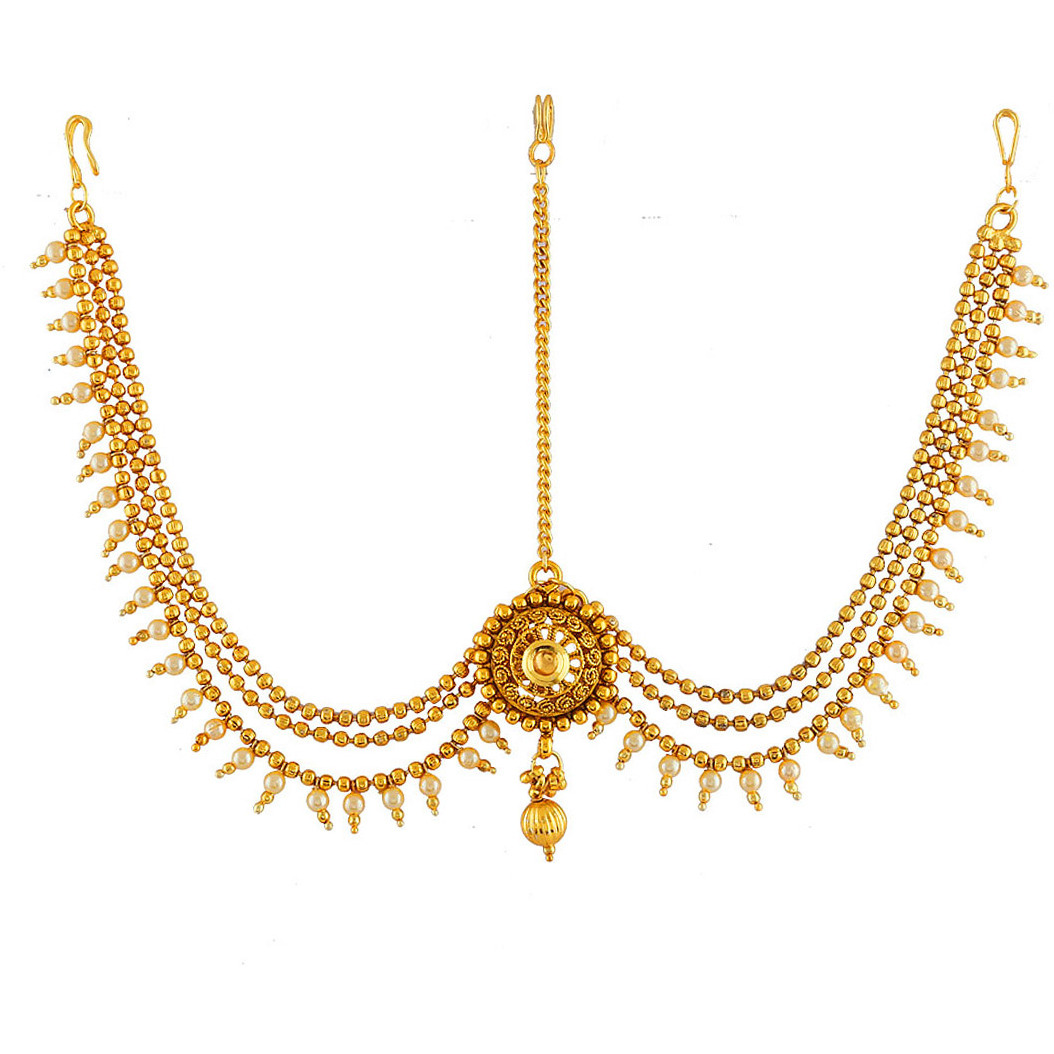 Anuradha Art Gold Finish Styled With Round Shape Designer Traditional Mang Tikka/Mathapatti For Women/Girls