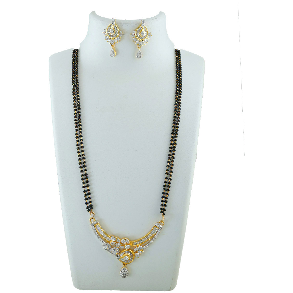 Anuradha Art Golden Tone Styled With Black Beads Chain Studded With American Diamonds Mangalsutra For Women