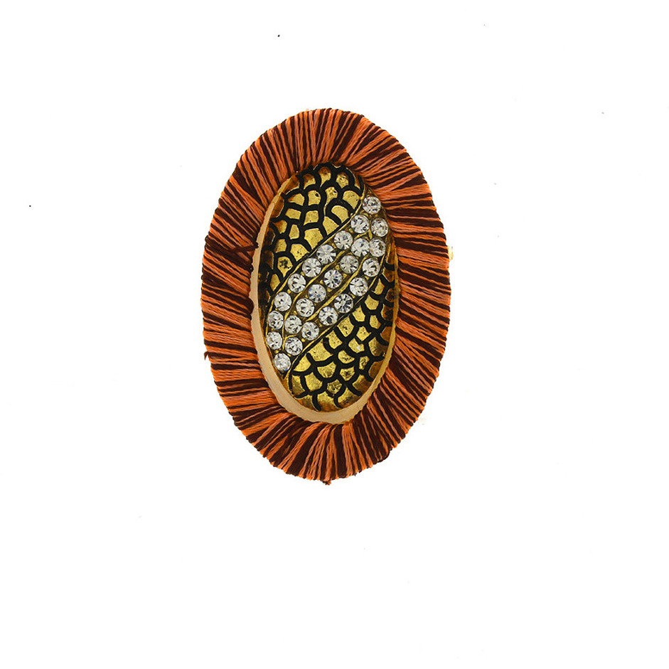 Anuradha Art Brown Colour Very Classy Stylish Designer Traditional Saree Pin/Brooch For Women/Girls