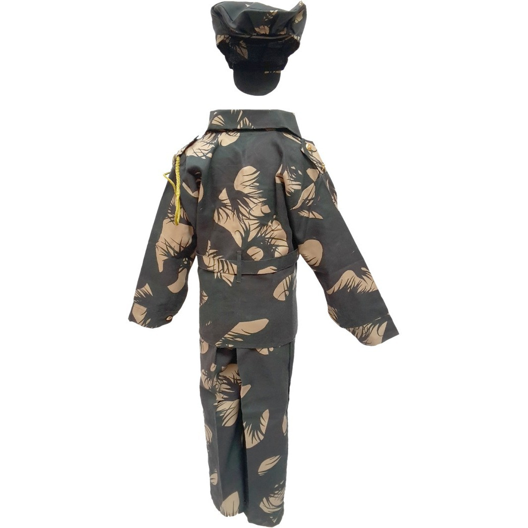KFD Indian Military Fancy Dress For Kids,Our Helper/National Hero Costume For Annual Function/Theme Party/Stage Shows/Competition Dress (Size:7 TO 8)
