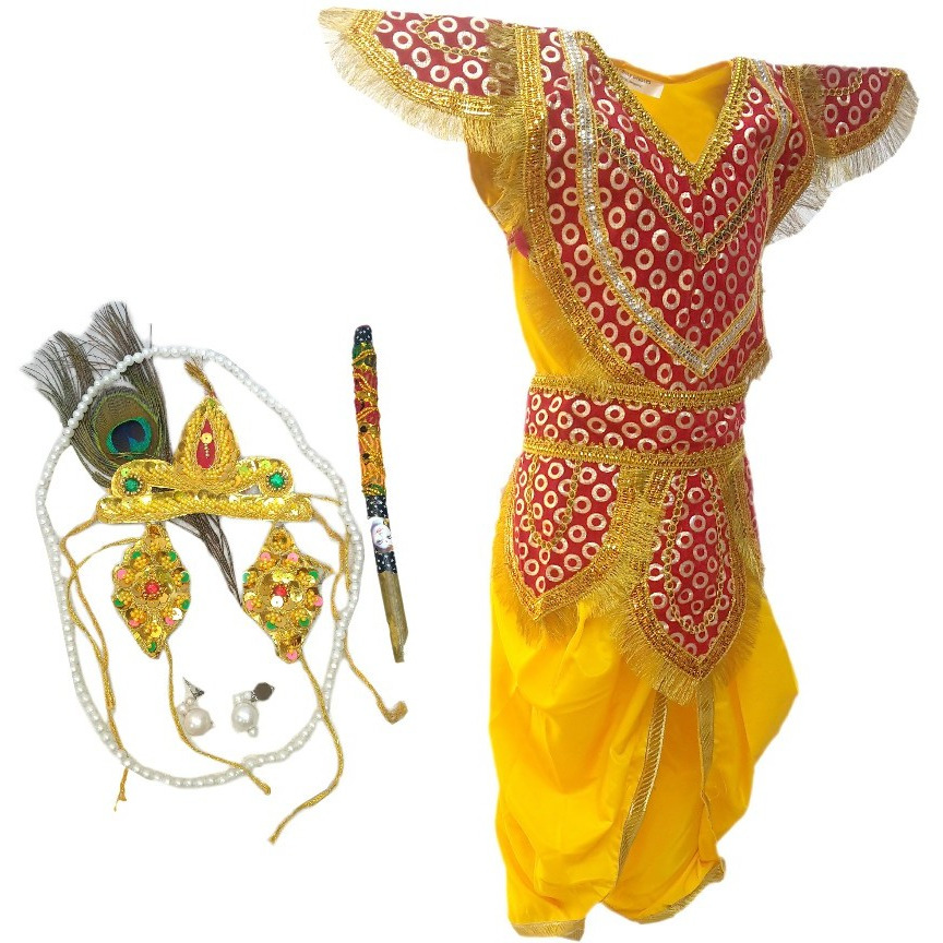 KFD Lord Krishna fancy dress for kids,Krishnaleela/Janmashtami/Kanha/Mythological Character for Annual function/Theme Party/Competition/Stage Shows Dress