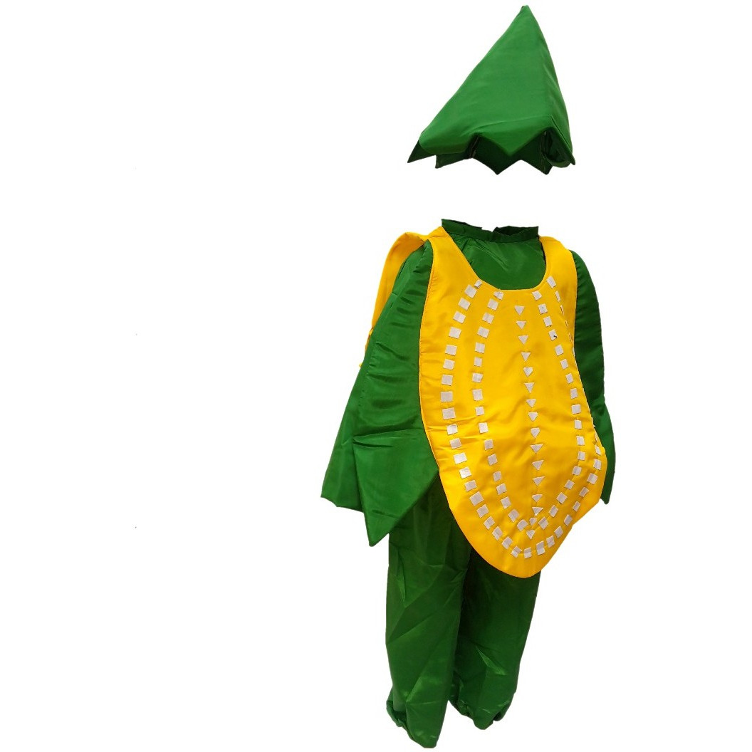 KFD Corn fancy dress for kids,Vegetables Costume for School Annual function/Theme Party/Competition/Stage Shows Dress (Size:3 TO 4)