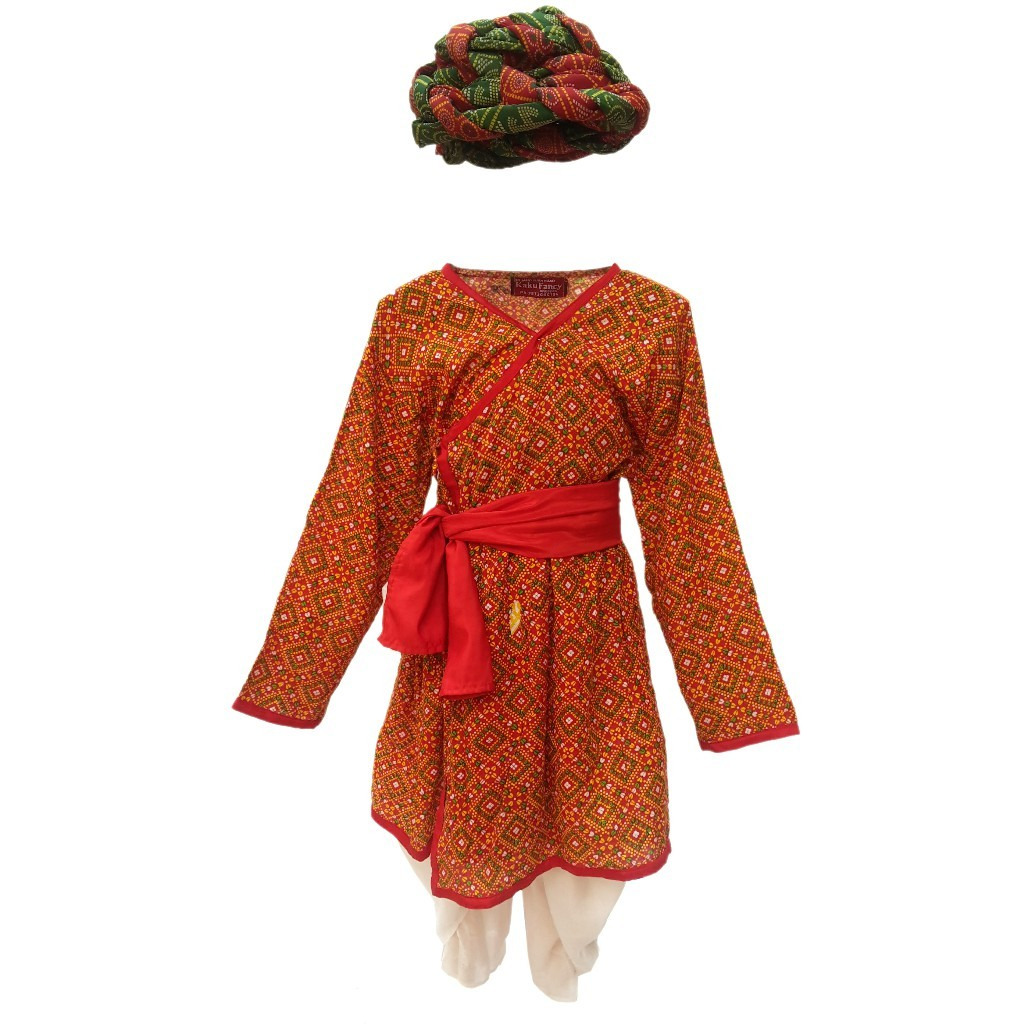 KFD Rajasthani Boy Red Color fancy dress for kids,Indian State Traditional Wear Costume for Annual function/Theme party/Competition/Stage Shows Dress