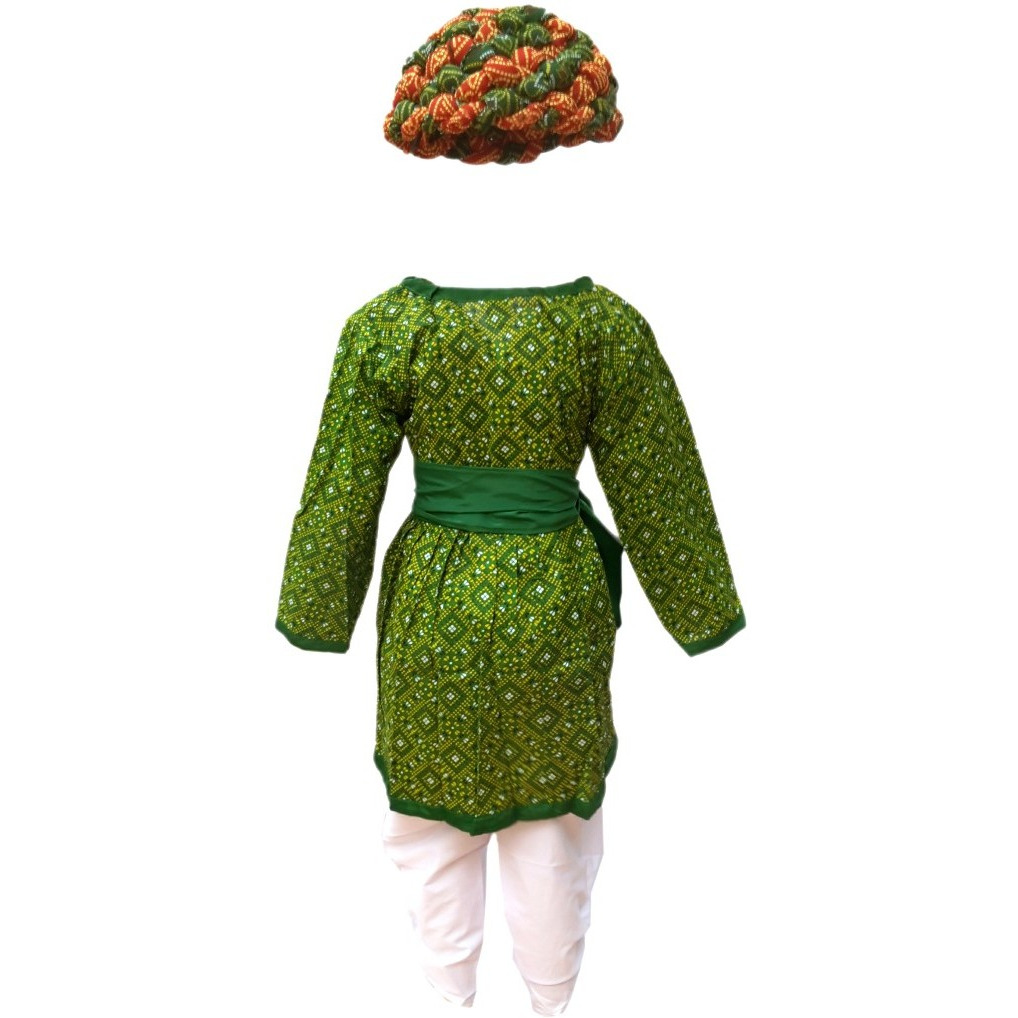 KFD Rajasthani Boy Green Color fancy dress for kids,Indian State Traditional Wear for Annual function/Theme party/Competition/Stage Shows Dress