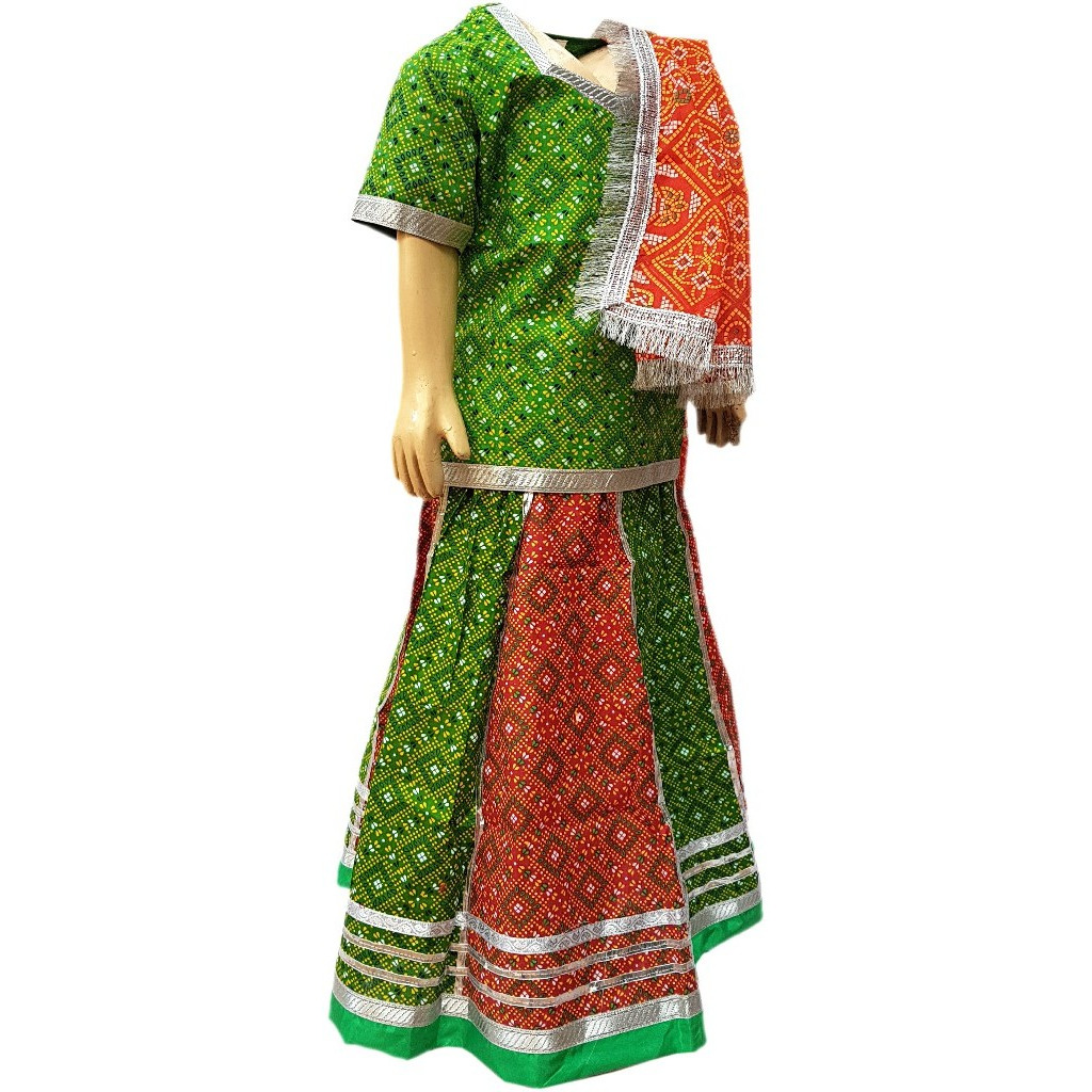 KFD Rajasthani cotton lehanga fancy dress for kids,Indian State Traditional Wear for Annual function/Theme Party/Competition/Stage Shows/Birthday Party Dress