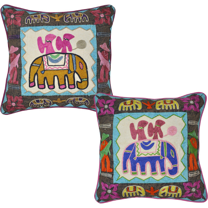 Indian Pillow Cushion Cover Patchwork Elephant Embroidered Covers House Warming