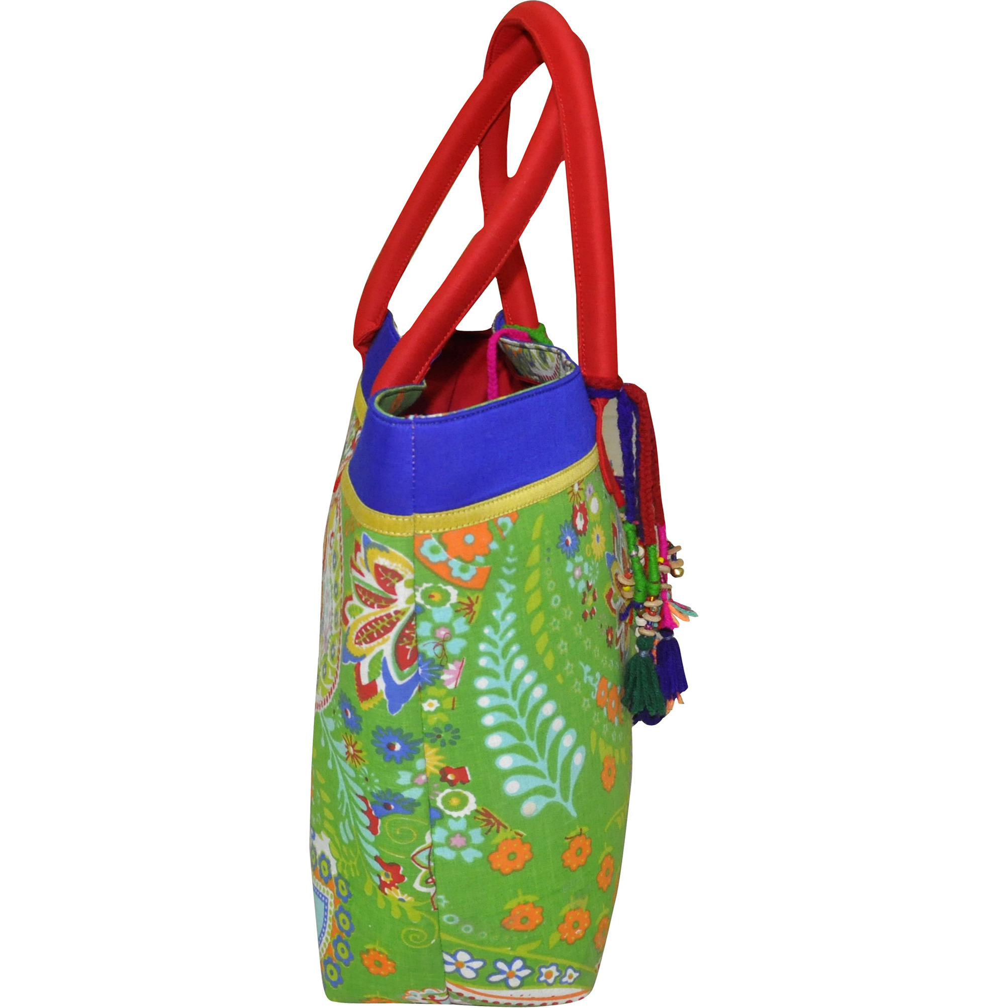 India Handmade Green Color Floral Pure Cotton Hand Bag for Women & Girls