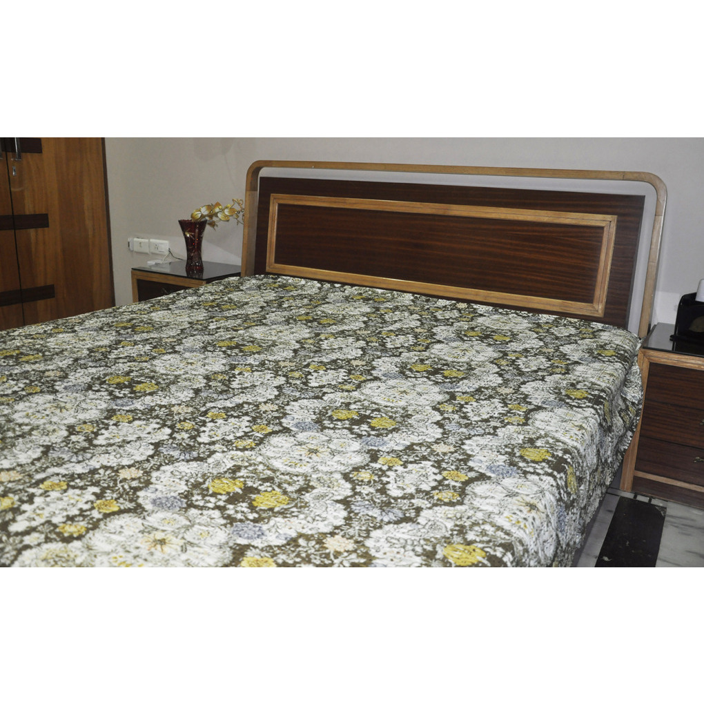 Brown Printed Double Bed Sheet Bed Cover Bedspread Tapestry 113 Cm
