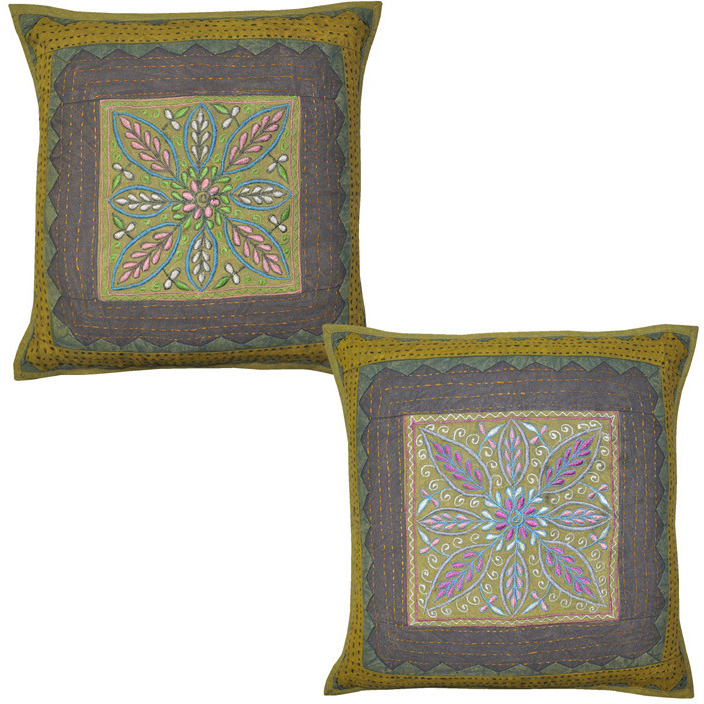 Online Cotton Green Cushion Covers Embroidered Square Pillow Cases 16 Inch Bedding Gift From Usa Zifiti Page