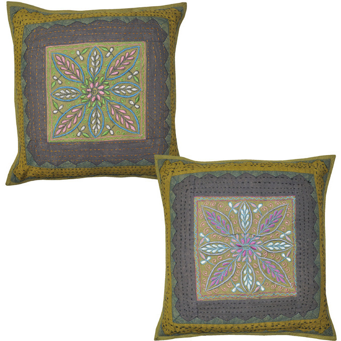 Indian Decor Cushion Cover Set Embroidered Cut Kantha Flower Pillowcases 40X40 Cm