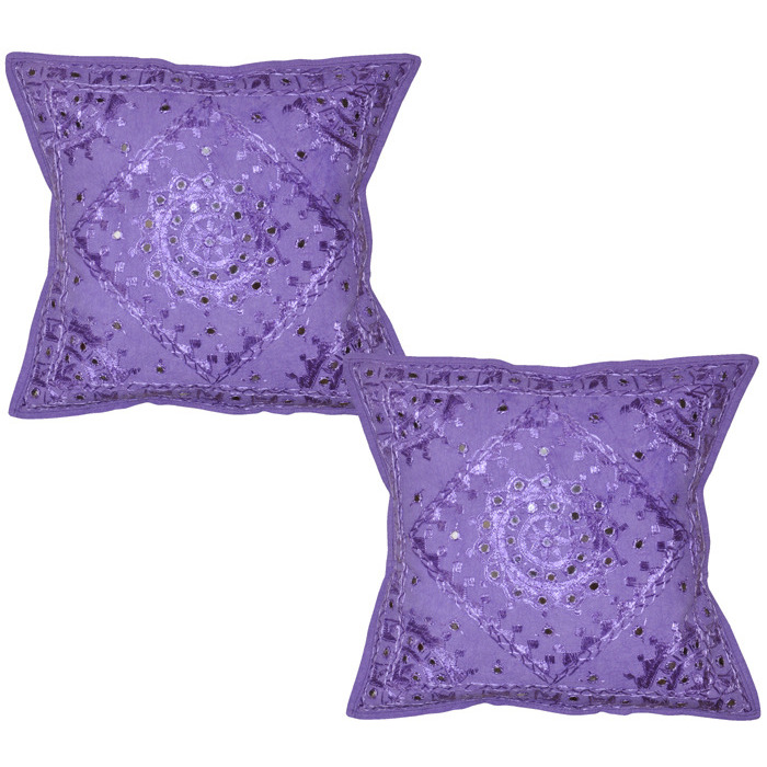 Indian Mirror Cotton Pillow Cases Embroidered Square Purple Cushion Covers 40 Cm