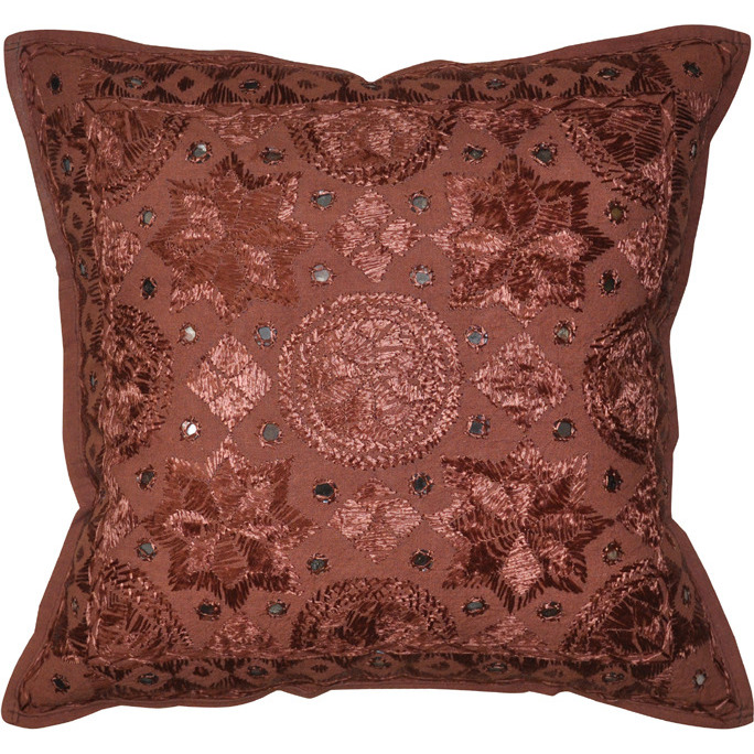 Embroidered Indian Cushion Covers Throw Mirror Pillow Cases Handmade Decor 16 Inch