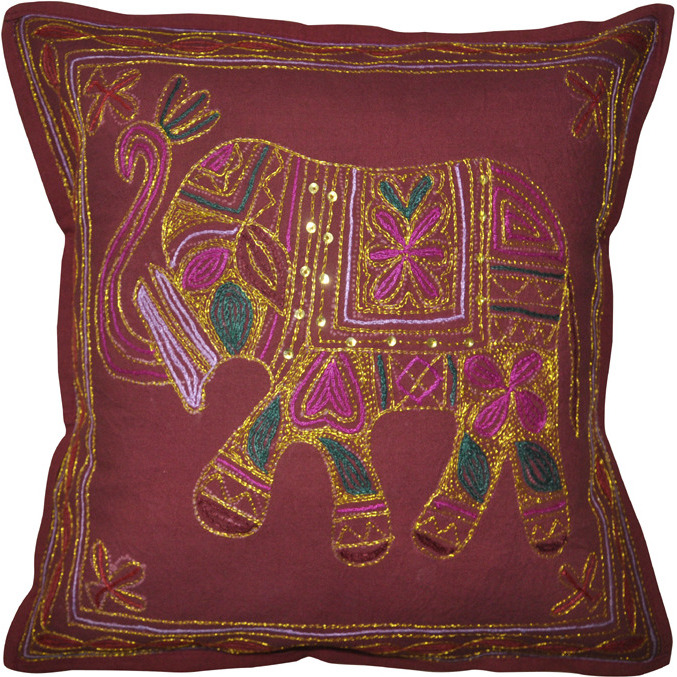 Handmade Cushion Covers Pair Elephant Embroidered Maroon Cotton Pillow Cases 16 Inch