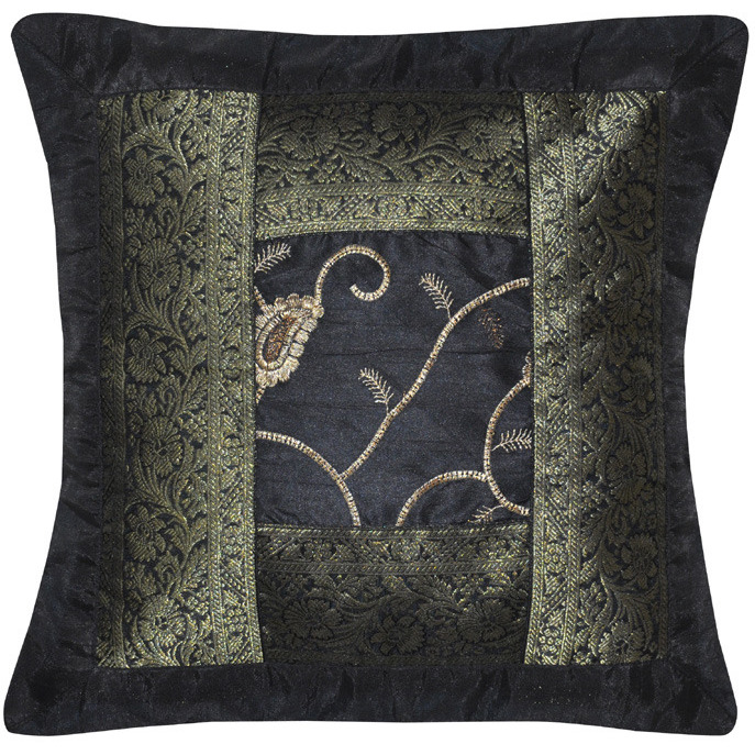 Indian Silk Cushion Covers Pair Brocade Work Black Silk Pillow Cases 40 Cm Decor