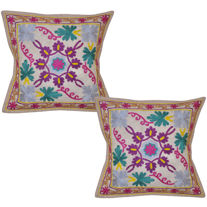 Indian Cotton Floral Cushion Covers Pair Embroidered Pattern Beige Pillowcases