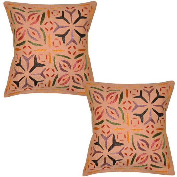 Indian Floral Cushion Covers Pair Peach Embroidered Home Decor Pillow Cases 40 Cm