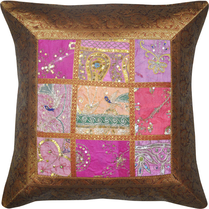 Home Decor Silk Pillow Cases Brocade Embroidered Brown Retro Cushion Covers 43 Cm