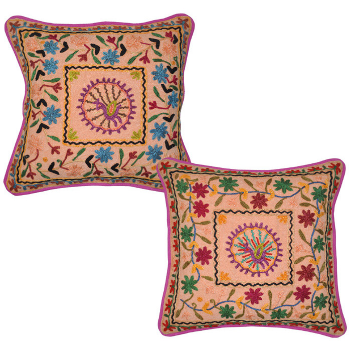 Indian Cotton Cushion Covers Floral Embroidered Handmade Pillow Covers Pair 43 Cm