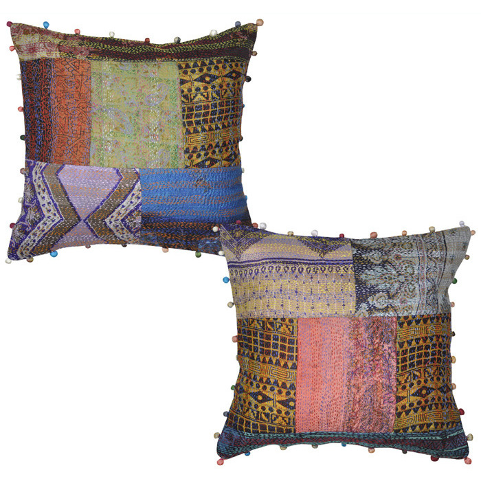 Buy Online Vintage Raw Silk Cushion Covers Pair Patchwork Sofa House Gorgeous Raw Silk Pillow Covers