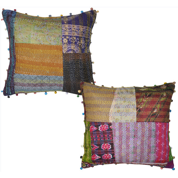 Ethnic Patchwork Cushion Covers Pair Raw Silk Square Sofa Pillow Cases 2 Pcs 40 Cm