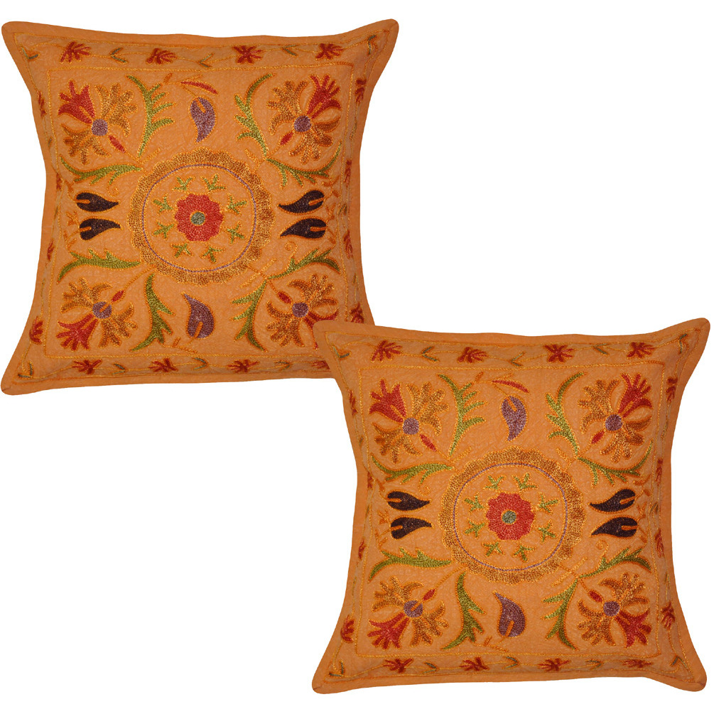 Vintage Retro Cushion Covers Set Of 2 Pcs Floral Embroidered Orange Pillowcases