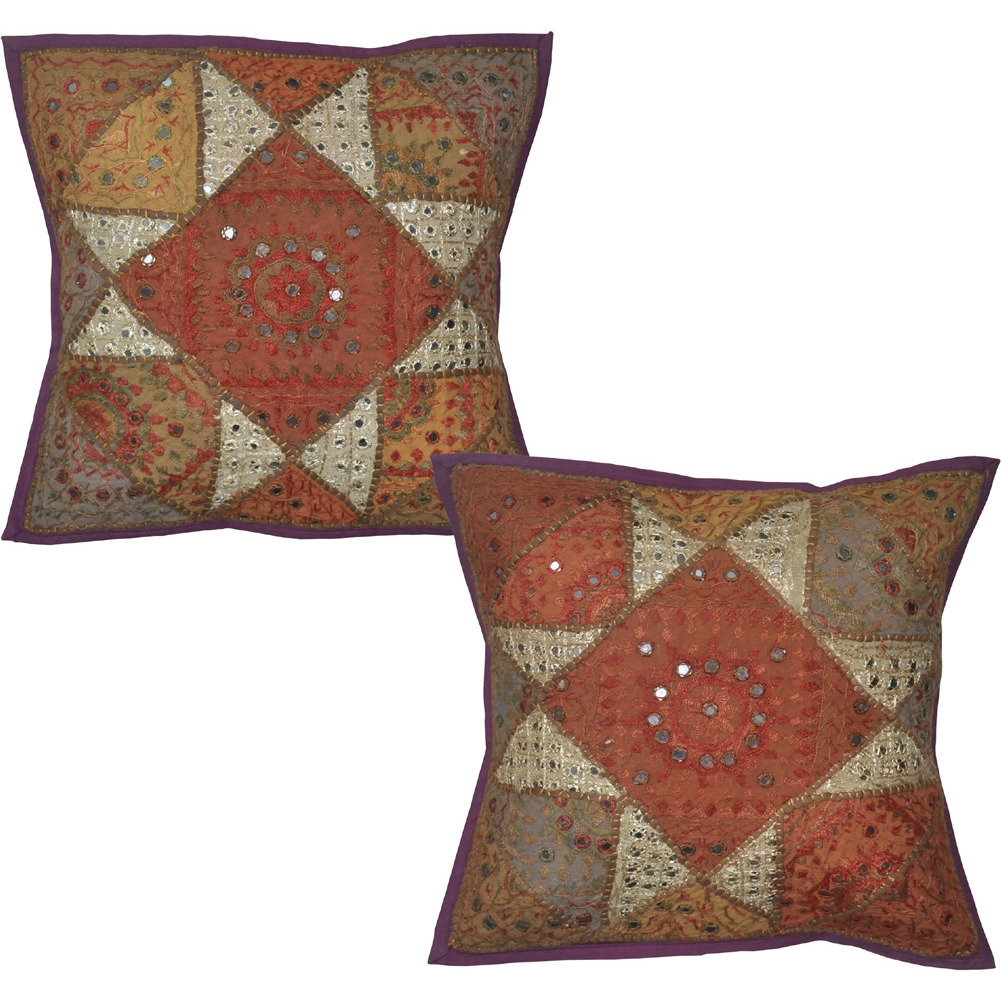 Ethnic Pillow Cases Embroidered Mirror Square Home Decor Cushion Covers Pair 16 Inch