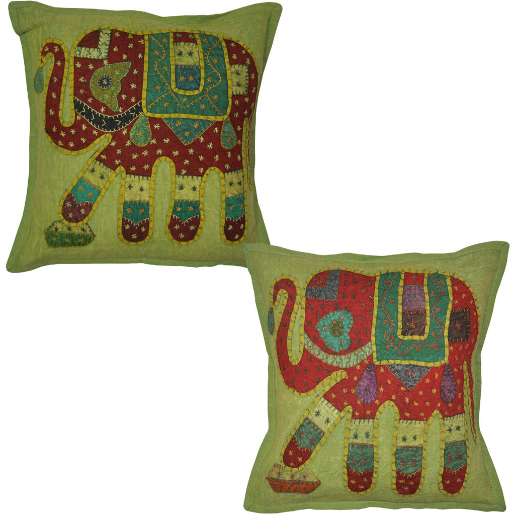Indian Elephant Cushion Covers Pair Patchwork Cotton Green Pillowcases Throw 16 Inch