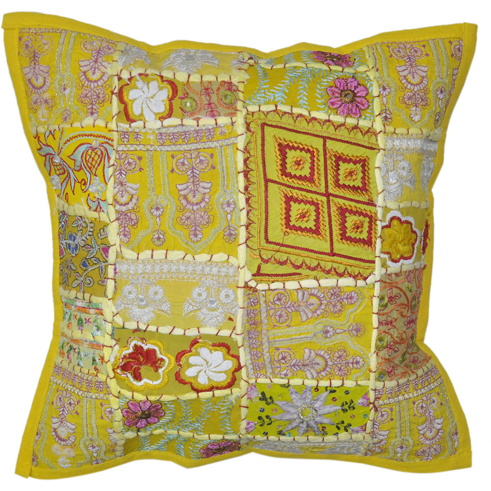 Traditional Patchwork Embroidery Designer Cotton Sequin Work Cushion Cover 40