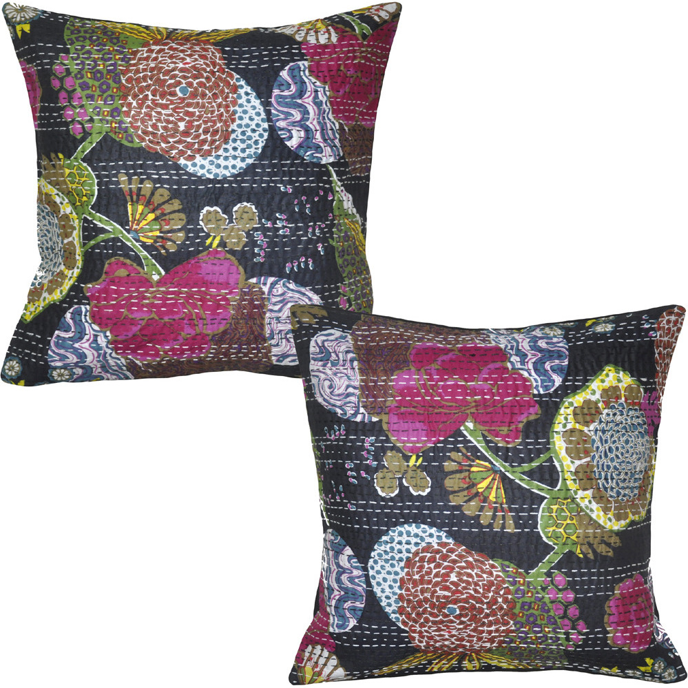 Pillow Case Throw Indian Vintage Handmade Cotton Black Cushion Covers Pair 16 Inch