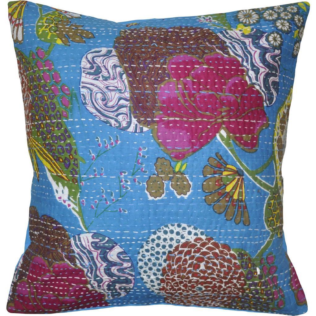 Indian Throw Pillow Cases Printed Handmade Cotton Cushion Covers Pair 16 Inch X 16 Inch