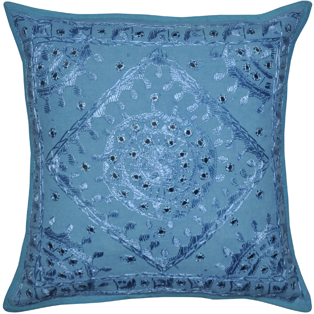 Lalhaveli Mirror Embroidered Design Ethnic Cotton Cushion Cover 40 X 40 Cm